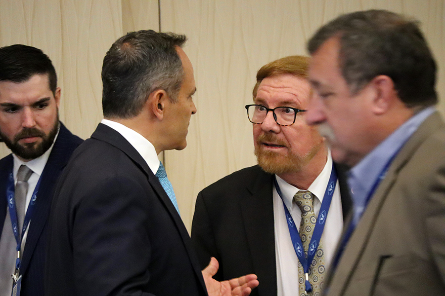 Kentucky Gov. Matt Bevin (left) and Kenneth Nemeth, executive director of the Southern States Energy Board. Credit: James Bruggers