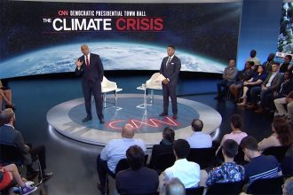 Sen. Cory Booker (D-N.J.) answers questions at CNN's climate crisis town hall on Sept. 4, 2019. Credit: CNN video