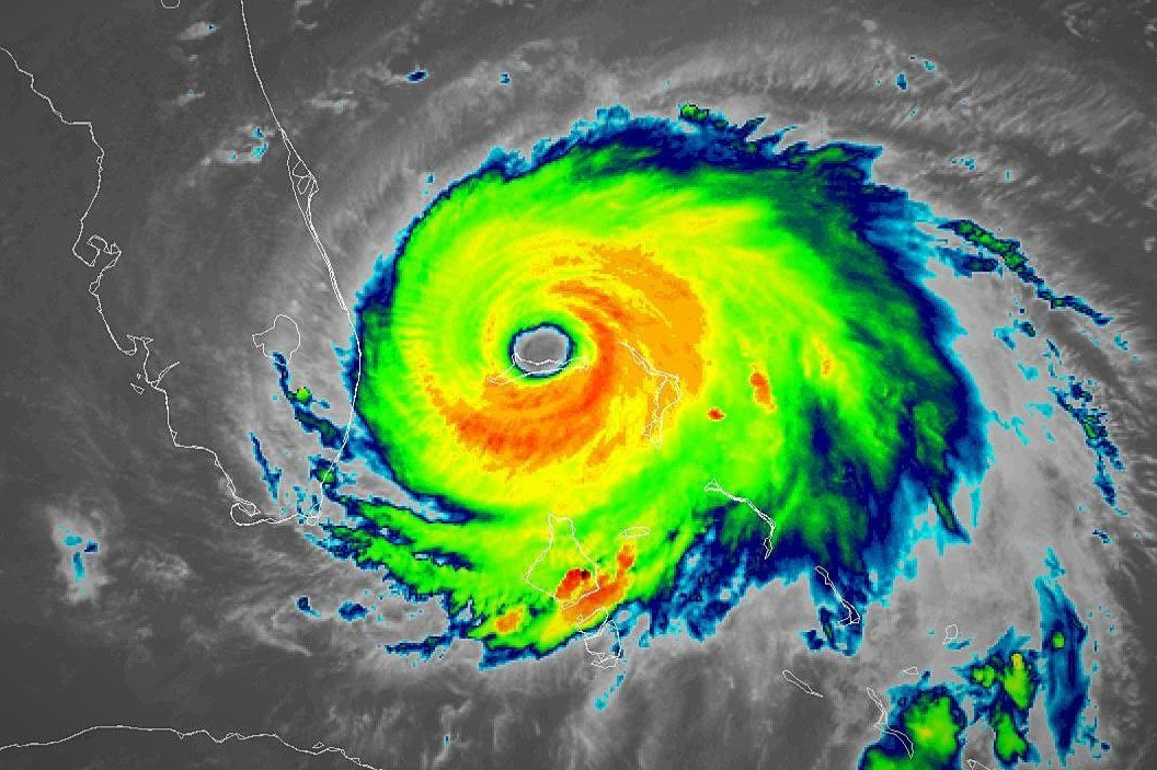 Satellite infrared imagery shows Hurricane Dorian's eyewall over Grand Bahama Island on Sept. 2, 2019. Credit: NOAA GOES