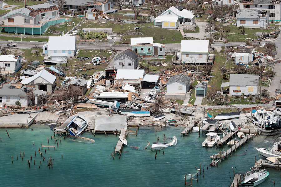 An aerial view of the damage caused by Hurricane Dorian on Great Abaco Island. The storm stalled over that island and Grand Bahama for three days, lashing the communities with powerful wind, heavy rain and dangerous storm surge. Credit: Scott Olson/Getty