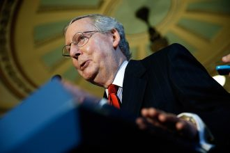 Senate Majority Leader Mitch McConnell (R-Ky.) in the U.S. Capitol. Credit: Win McNamee/Getty Images