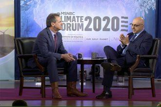 Montana Gov. Steve Bullock (left) at MSNBC's climate forum on Sept. 20, 2019, with MSNBC reporter Ali Velshi. Credit: MSNBC Video
