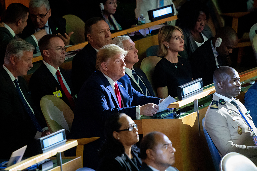 President Donald Trump stopped at the UN Climate Summit for a few minutes with Vice President Mike Pence, Secretary of State Mike Pompeo, Chief of Staff Mick Mulvaney and UN Ambassador Kelly Craft. Credit: Kay Nietfeld/Picture Alliance via Getty Images