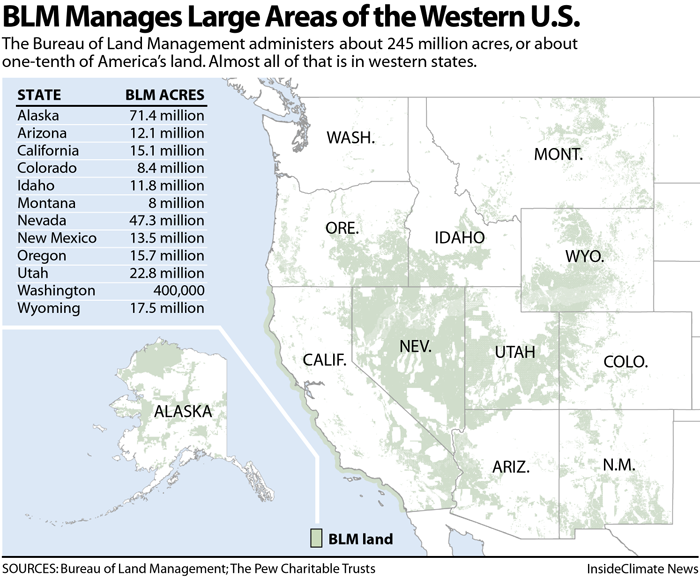 Map: BLM Manages Large Areas of the Western U.S.