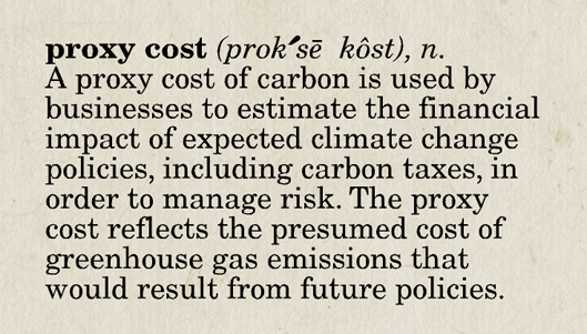 Definition of proxy cost of carbon