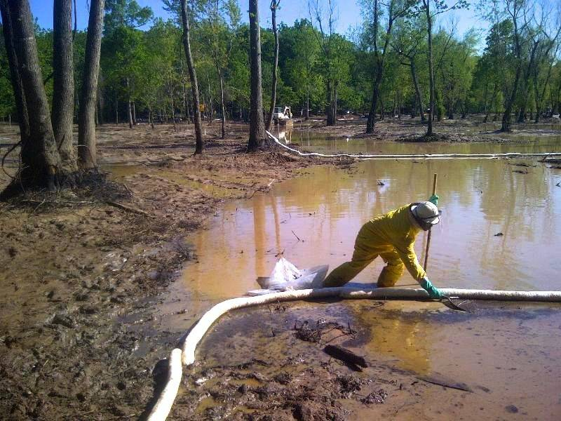 """Oil cleanup in the """"cove"""" area of Lake Conway, May 12, 2013. Credit: EPA."""