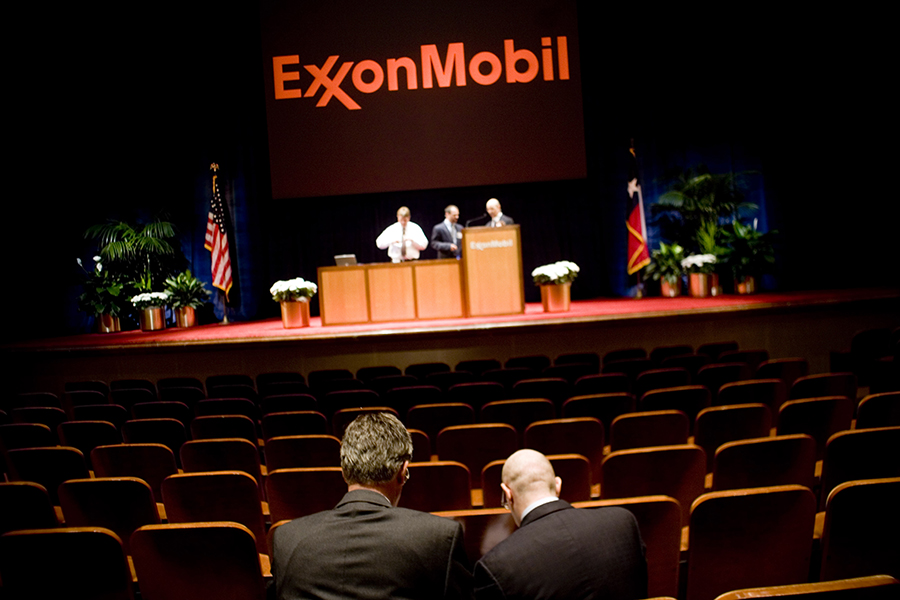 Exxon investor meeting. Credit: Brian Harkin/Getty Images