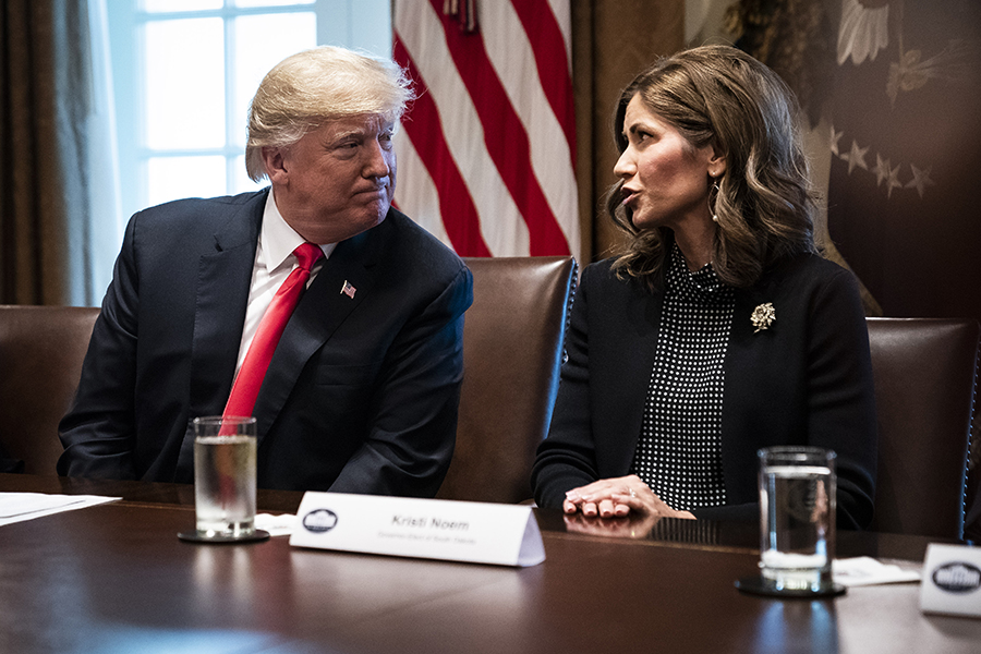 South Dakota's governor, Kristi Noem, met with President Donald Trump shortly after her election in 2018. Credit: Jabin Botsford/Washington Post via Getty Images