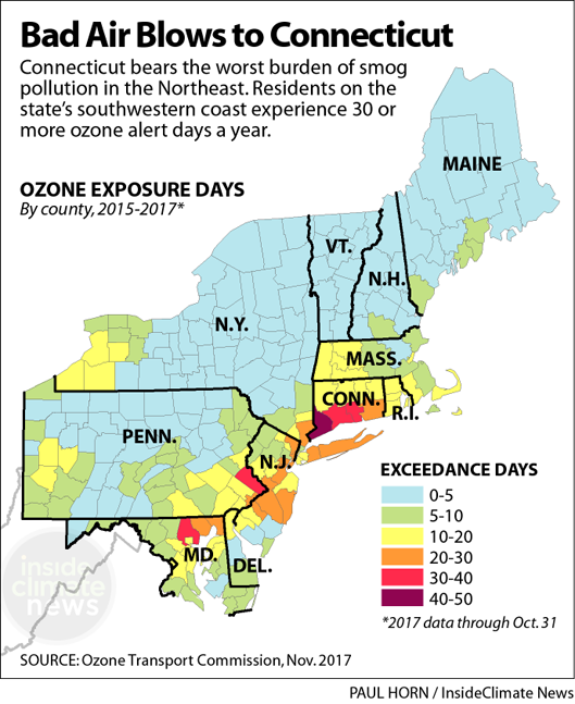 Map: Smog Blows into Connecticut
