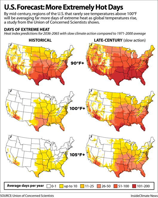 Maps: U.S. Forecast: More Extremely Hot Days Ahead