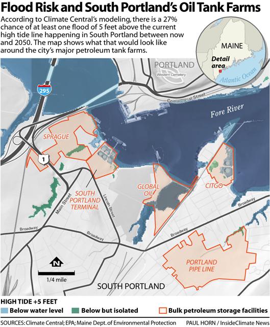 Map: Flood Risk and South Portland's Petroleum Tank Farms