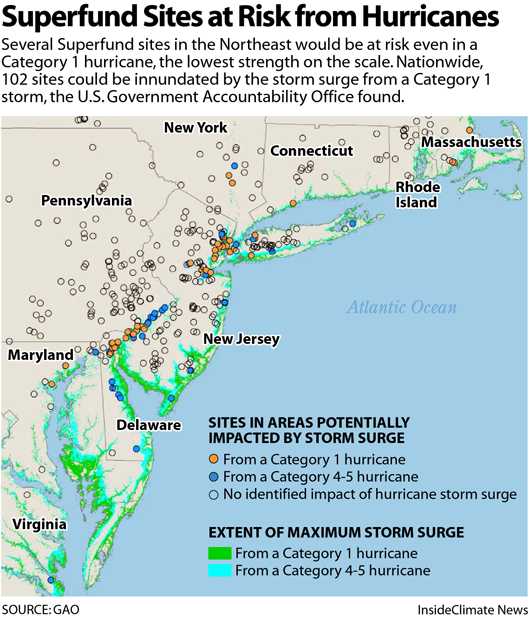 Map: Superfund Sites at Risk from Hurricanes