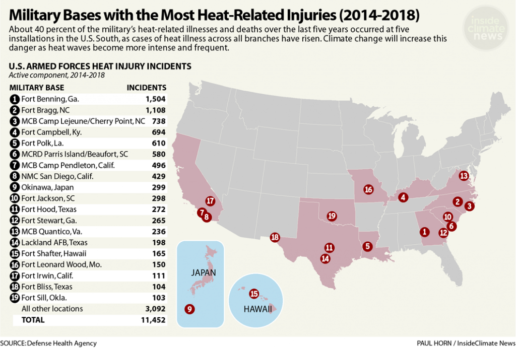 Map: Military Bases with the Most Heat-Related Injuries