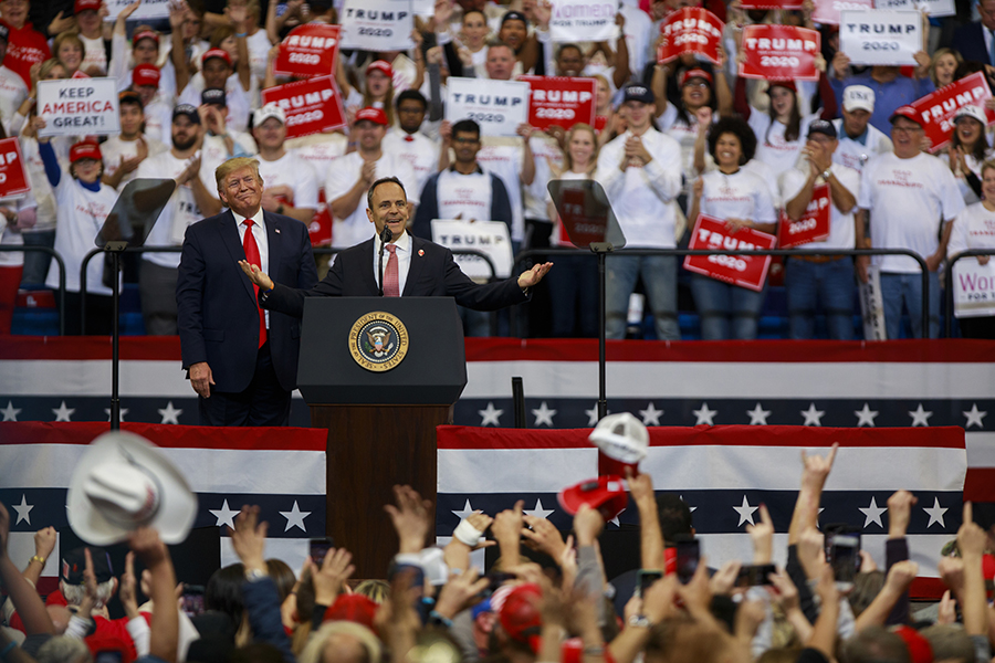 President Donald Trump campaigned with Kentucky Gov. Matt Bevin one day before the election, which showed Bevin losing to Democrat Steve Beshear. Credit: Jeremey Hogan/SOPA Images/LightRocket via Getty Images
