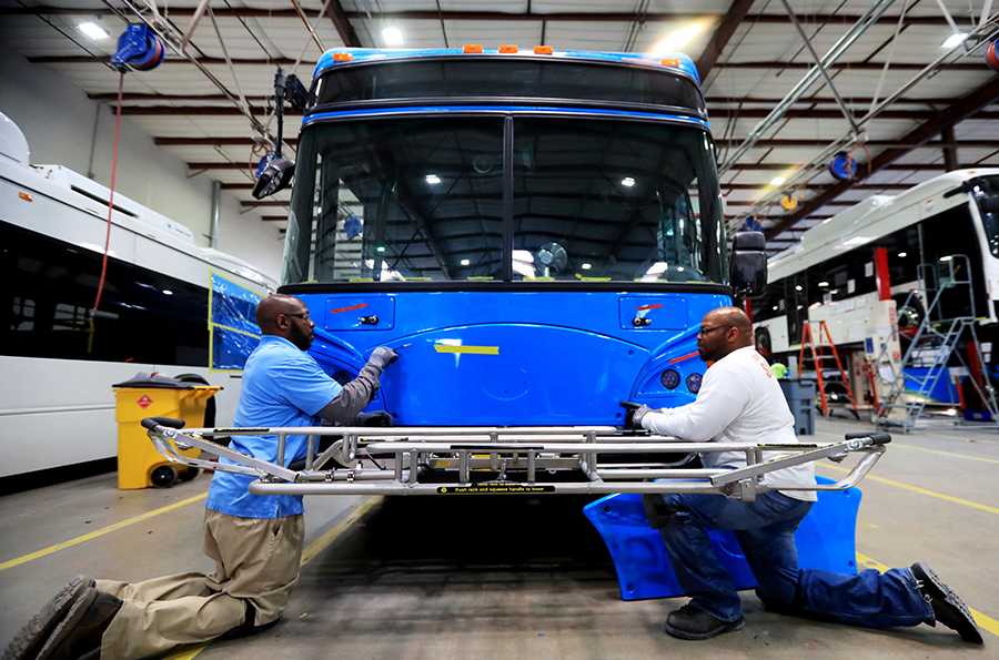 BYD electric bus factory in Lancaster, California. Credit: Li Ying/Xinhua via Getty Images