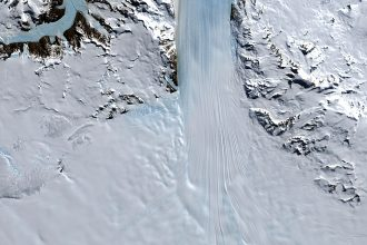 A satellite image shows the Byrd Glacier flowing into the Ross Ice Shelf. Ice shelves are critical for slowing Antarctica's glaciers' flow toward the ocean. Credit: Jesse Allen/NASA