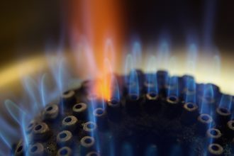 Burner on a natural gas-fueled stove. Credit: Ralph Orlowski/Getty Images