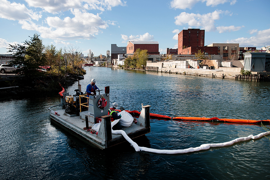 The Gowanus Canal, once a bustling transportation and shipping route in Brooklyn, New York, was declared a Superfund cleanup site in 2010.  (Photo by Drew Angerer/Getty Images)