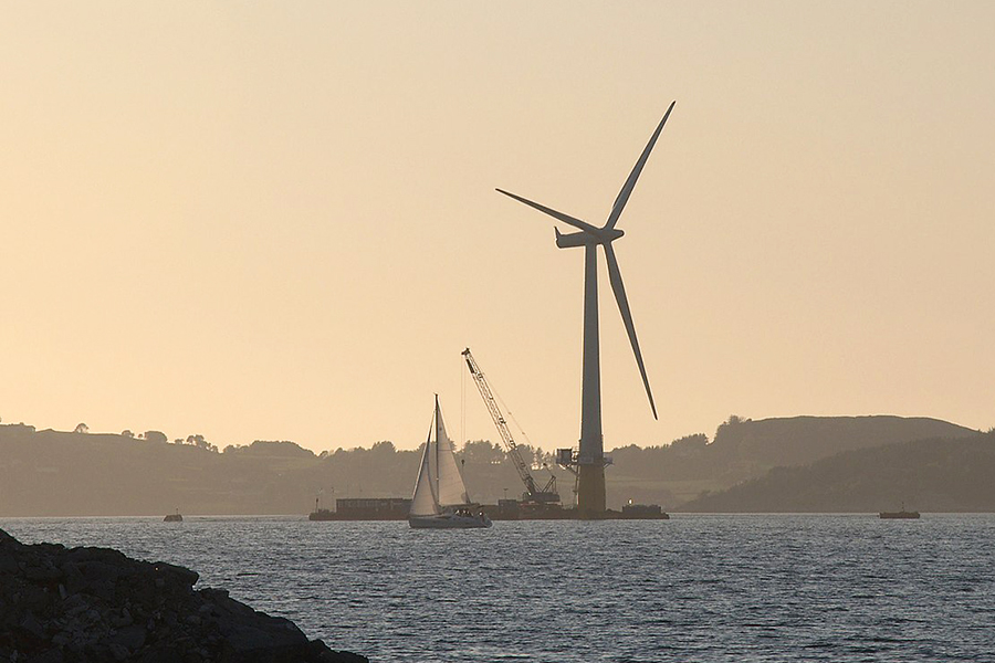 Hywind, the world's first commercial-scale floating deep-water wind turbine, launched in Europe in 2009. The University of Maine is designing the first full-scale floating turbine in the United States. Credit: Lars Christopher/CC-BY-SA-2.0