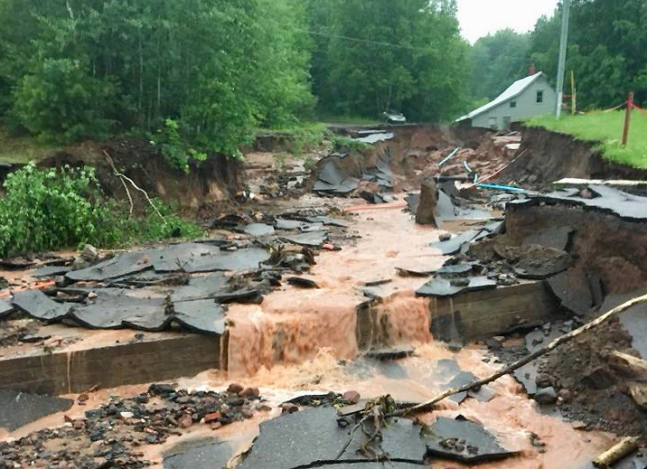Road damage. Credit: Christopher Guibert, Courtesy of the Keweenaw Resiliency Group