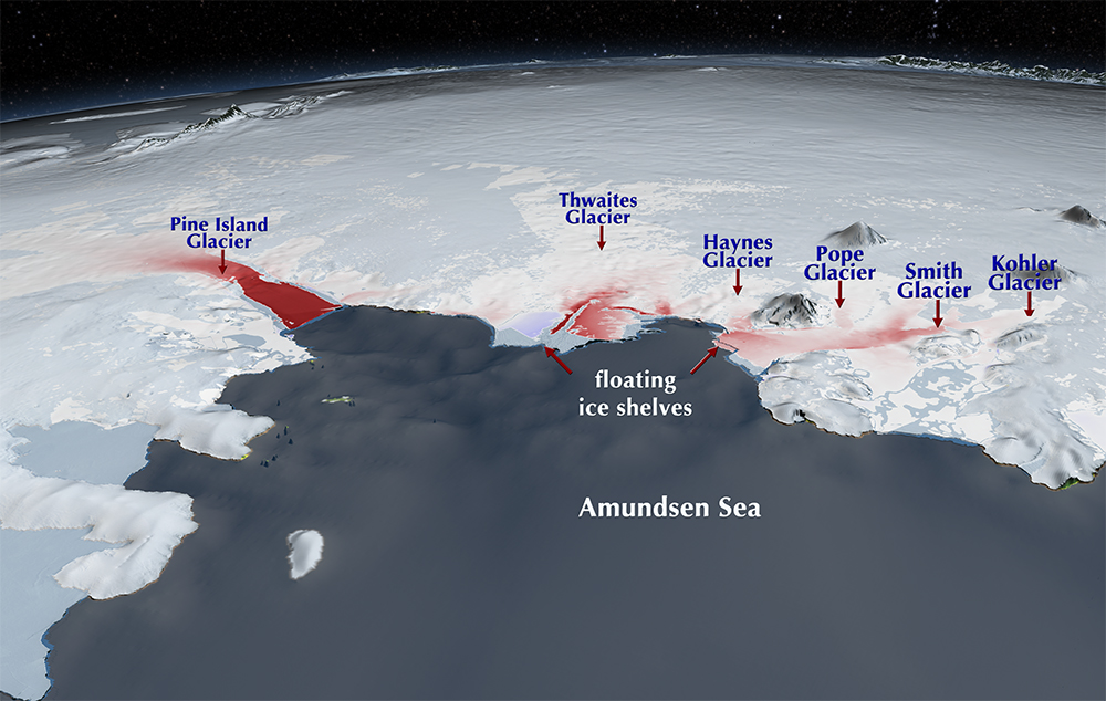 This image of the Thwaites and Pine Island Glaciers shows the changing velocity of the glaciers from 1996 to 2008. The darkest reds indicate an increase of 1.5 kilometers per year or more. Credit: NASA Scientific Visualization Studio.
