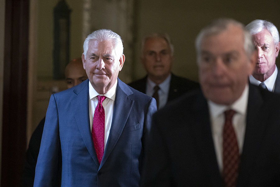 Rex Tillerson, Exxon's former CEO, leaves court after testifying. Credit: Drew Angerer/Getty Images