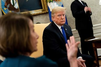 House Speaker Nancy Pelosi, a California Democrat, meets with President Donald Trump at the White House. Credit: Brendan Smialowski/AFP/Getty Images