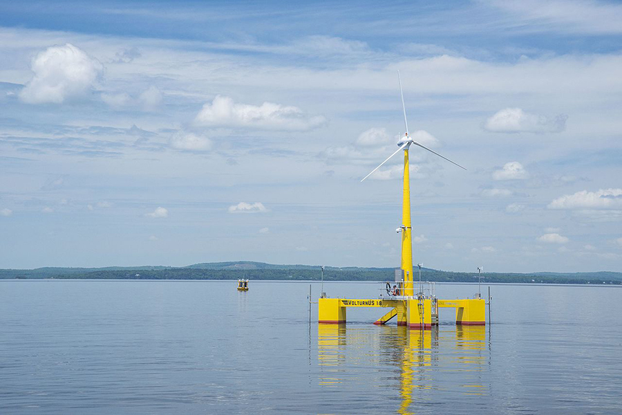 The University of Maine began testing its floating wind turbine technology in 2013 with a 1:8 scale model, shown here. The smaller 65-foot test project ran for 18 months. Credit: Jay Plourde, University of Maine