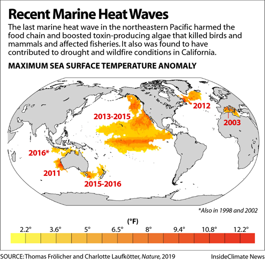 Map: Recent Marine Heat Waves