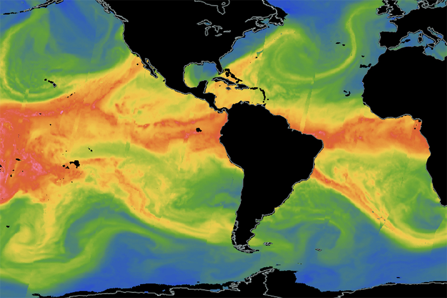 Satellite images show the water vapor in atmospheric rivers, including one headed into the western United States and Mexico. Credit: NASA Worldview