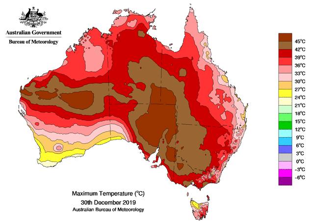 Australia's maximum temperatures on Dec. 30, 2019. A temperature of 36 degrees Celsius is equivalent to 97 degrees Fahrenheit. Credit: Australian Government/Bureau of Meteorology