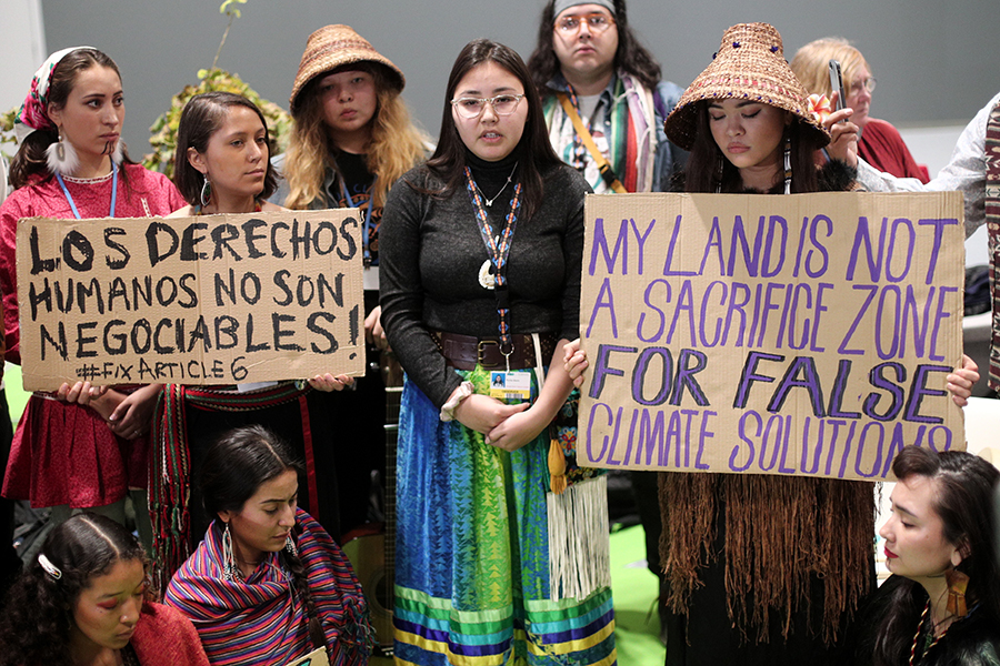 Native women protested the treatment of indigenous lands during the third day of the UN climate conference in Madrid, Spain, Nov. 4. Credit: Eduardo Parra/Europa Press via Getty Images