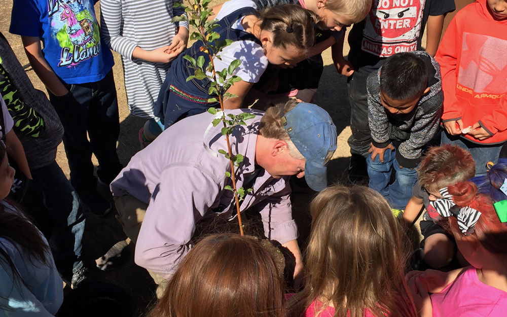 Jude Schuenemeyer of the Montezuma Orchard Restoration Project plans an apple tree at a school and talks with the students about the area's past fruit-growing economy that had dozens of varieties of apples, pears, plums and peaches. Credit: Bob Berwyn