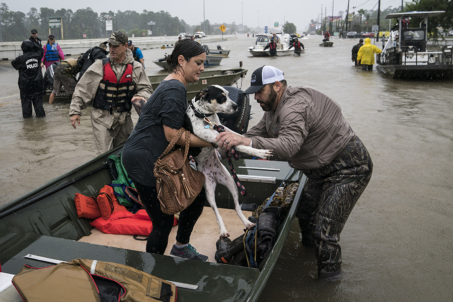 Rescues during flooding from Hurricane Harvey in Houston in 2017. Credit: Jabin Botsford/Washington Post via Getty Images