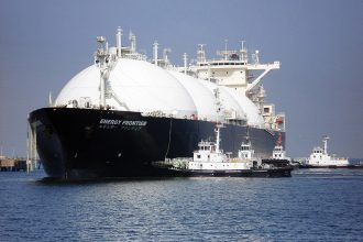 A tanker carrying liquefied natural gas, or LNG. Credit: STF/AFP via Getty Images