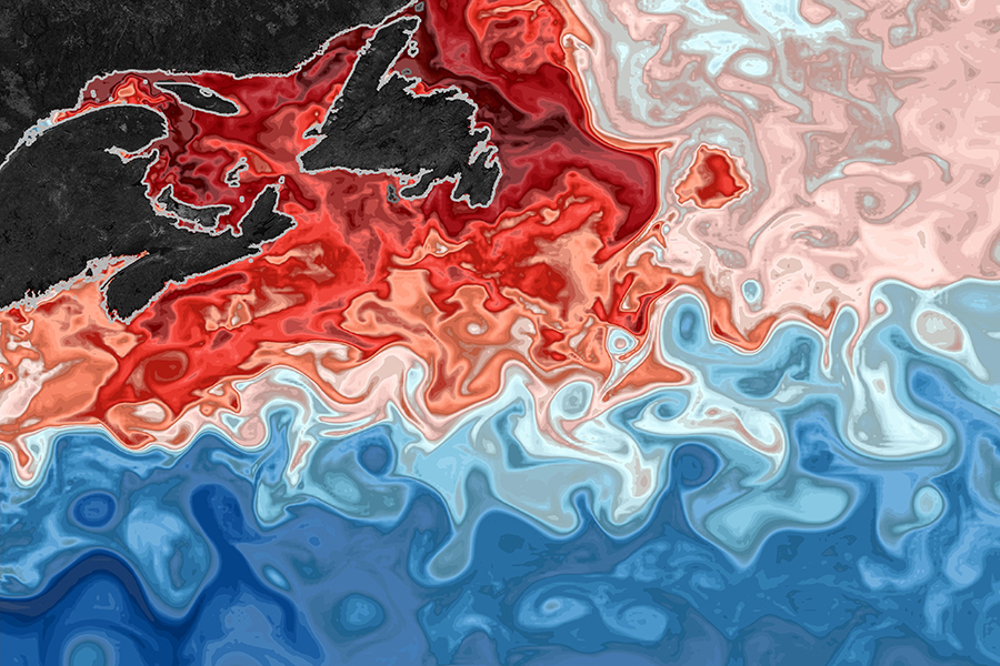 A computer model show oxygen levels at the ocean's surface off Newfoundland, near the mouth of the Gulf of St. Lawrence. Red indicates more oxygen. Credit: Mariona Claret/University of Washington