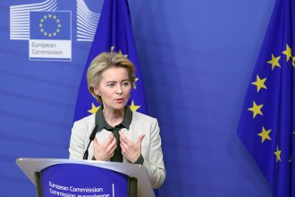 European Commission President Ursula von der Leyen unveils her Green Deal plan to fight climate change on Dec. 11, 2019, at the European Commission headquarters in Brussels. Credit: Aris Oikonomou/AFP/Getty Images