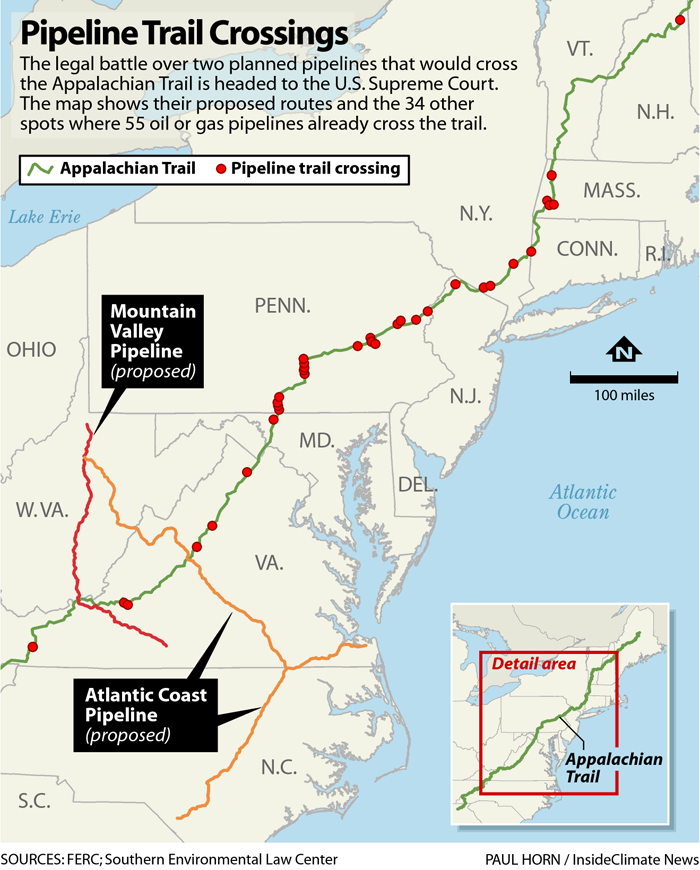 Map: Appalachian Trail Pipeline Crossing and Proposed Routes