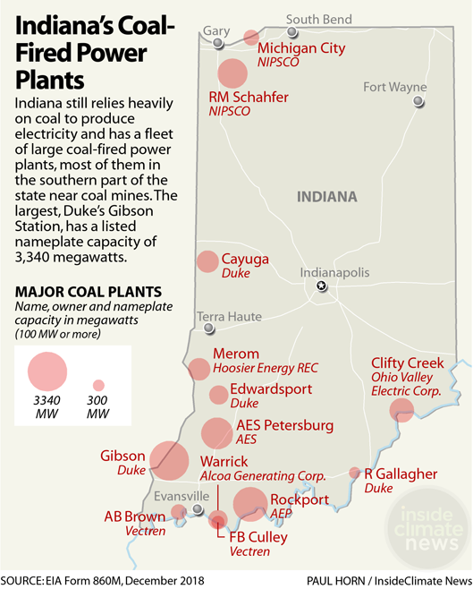 Map: Indiana's Coal-Fired Power Plants