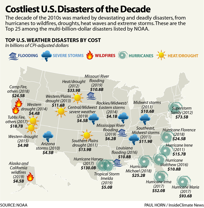 Map: Costliest U.S. Weather Disasters of the Decade