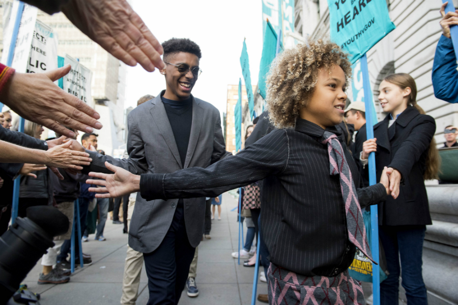 Young plaintiffs in the Children's Trust climate lawsuit head into court. Credit: Robyn Loznak