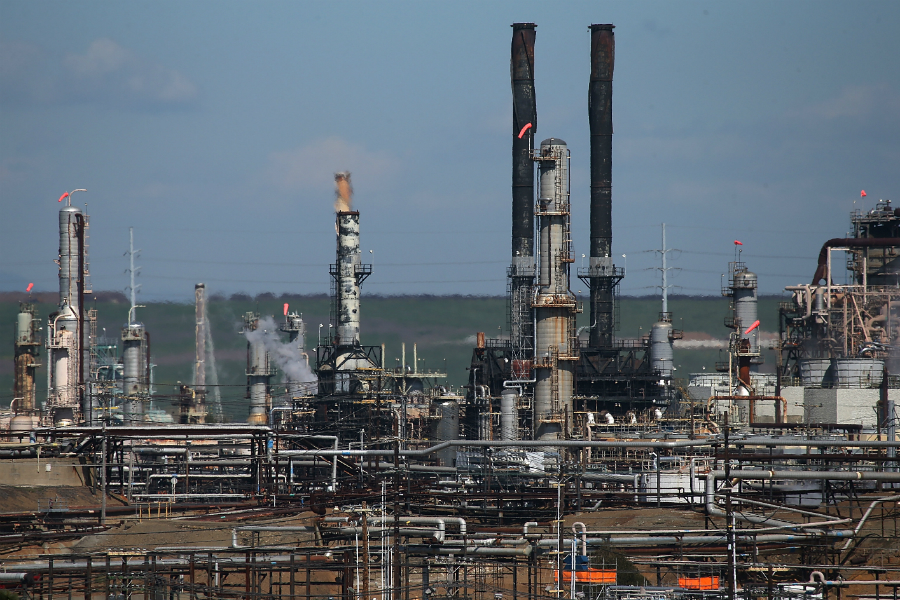 Richmond, California, home to a Chevron refinery near San Francisco Bay, in one of several cities suing fossil fuel companies over climate change. Credit: Justin Sullivan/Getty Images