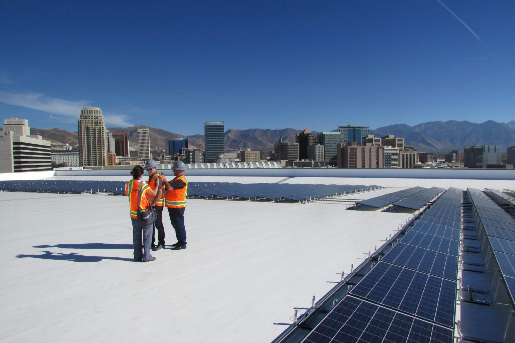 Solar panels in downtown Salt Lake City at the home of the Utah Jazz produce enough clean energy to power 89 NBA basketball games and around 100 homes, while displacing about 500 tons of coal. Credit: Judy Fahys/InsideClimate News