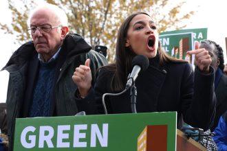 Sen. Bernie Sanders and Rep. Alexandria Ocasio-Cortez announce legislation to transform public housing as part of their Green New Deal plan. Credit: Chip Somodevilla/Getty Images