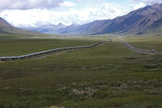 An oil pipeline in Alaska. Credit: Smith Collection/Gado/Getty Images