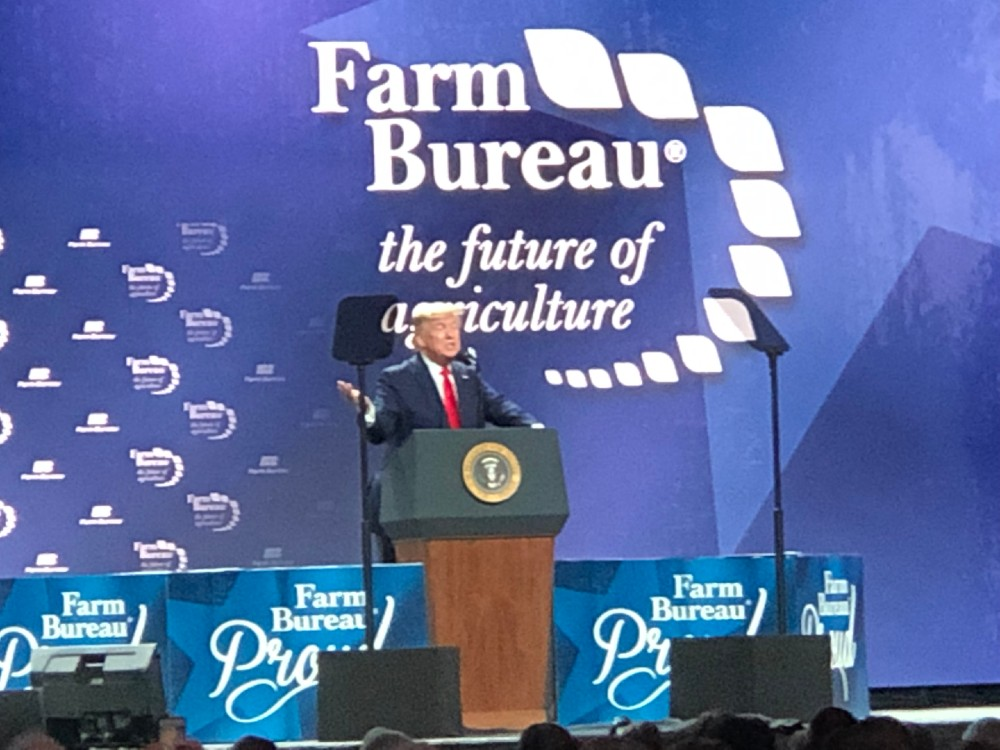 President Trump spoke at the American Farm Bureau Federation convention in Austin, Texas, on Sunday, touting his recent trade deals as a benefit to farmers. Credit: Georgina Gustin/InsideClimate News