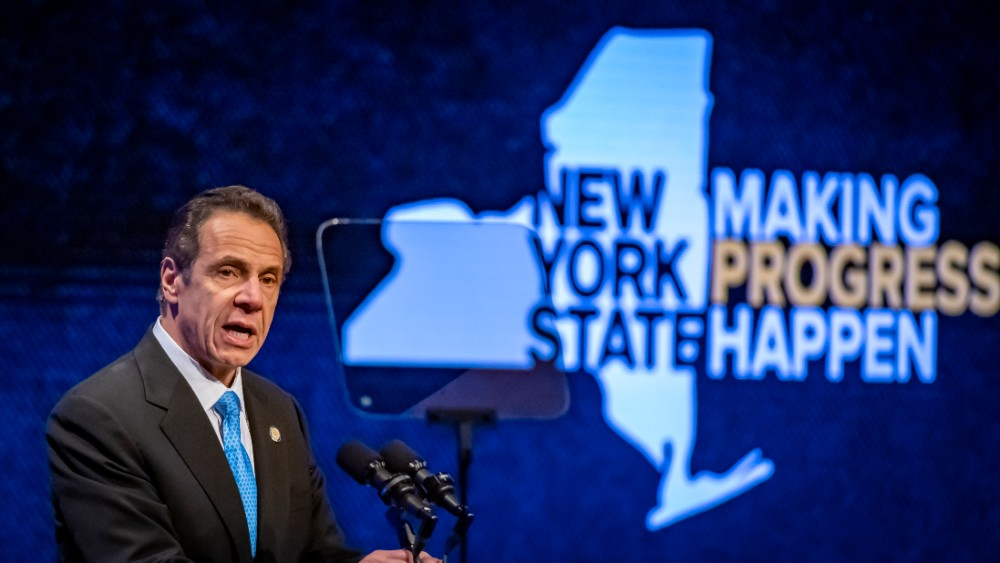 New York Gov. Andrew Cuomo delivers his 2020 State of the State address in Albany. Credit: J. Conrad Williams