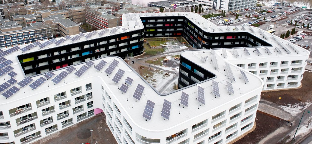 The use of solar is increasing in Finland and other Nordic countries. Aitiopaikka, an apartment complex in Turku, sports 516 rooftop solar panels. Credit: Turku Student Village Foundation (TYS)