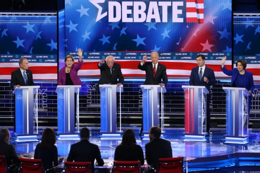 Six candidates faced off in the ninth Democratic presidential primary debate in Las Vegas, Nevada, on Wednesday night. Credit: Mario Tama/Getty Images