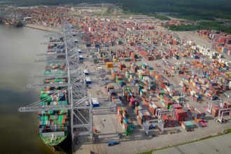 The Georgia Ports Authority's Garden City Terminal in Savannah, Georgia, as seen from the air. Credit: Georgia Ports Authority
